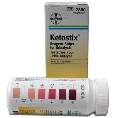 Tira comercial para detección de cetosis.