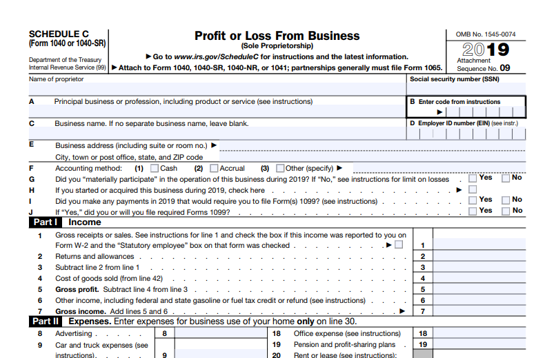 Schedule C form by IRS