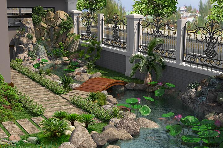 Thiết kế tiểu cảnh sân vườn cần thiết cho nhiều công trình