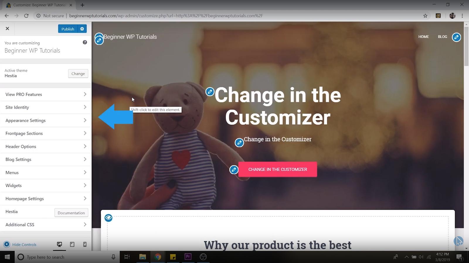 customization settings wordpress tutorial for beginners