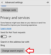 Setting up Google as your default search engine in Edge browser - change search engine