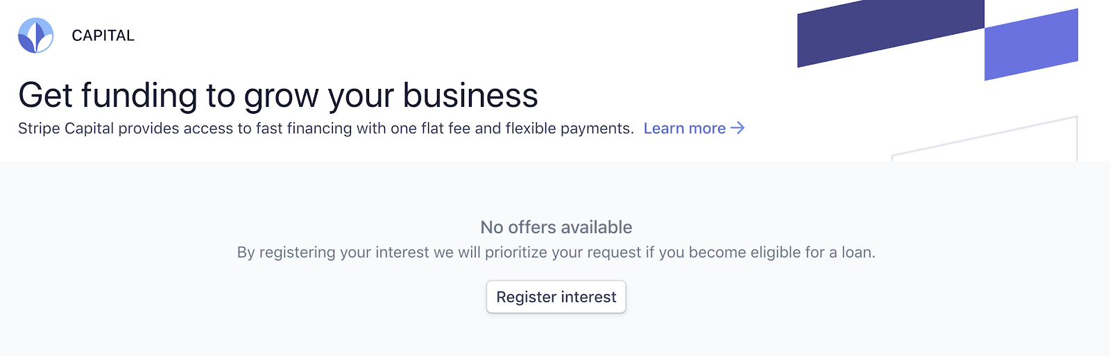 Register Interest in Stripe Capital Loan