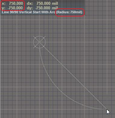 Zeichnung des ersten Bogens zur Erstellung eines 3D-Donuts mit Altium Designer.