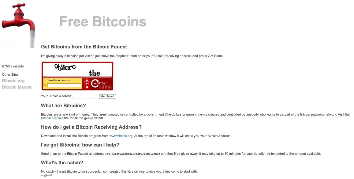 Un faucet datant de 2010 où un captcha pouvait vous faire gagner 5 bitcoins