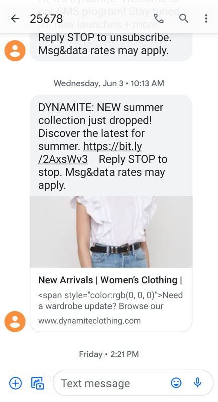 Example of a new product announcement SMS message from Dynamite