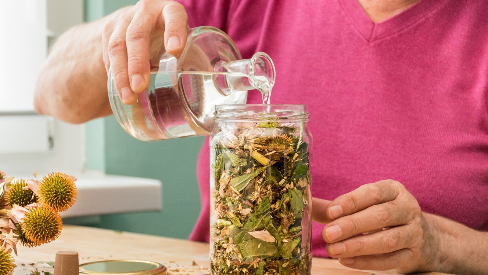 Woman filling jar with ethanol solvent and herbs.