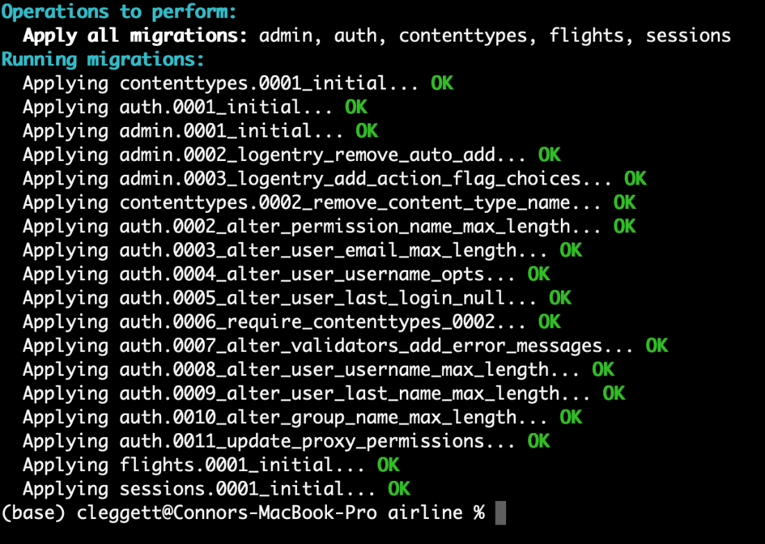 migrate output