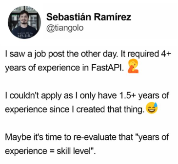 Unreasonable experience job posting