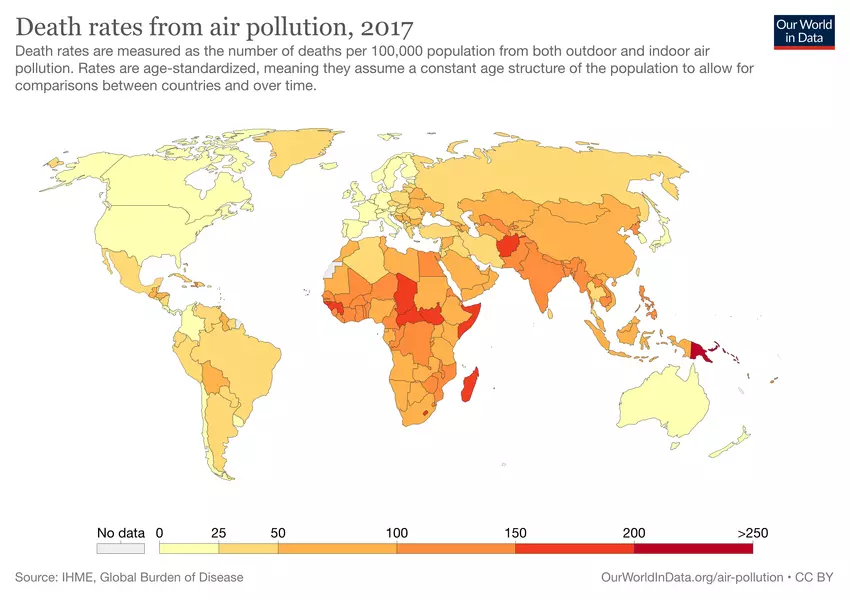 Death rates from air pollution
