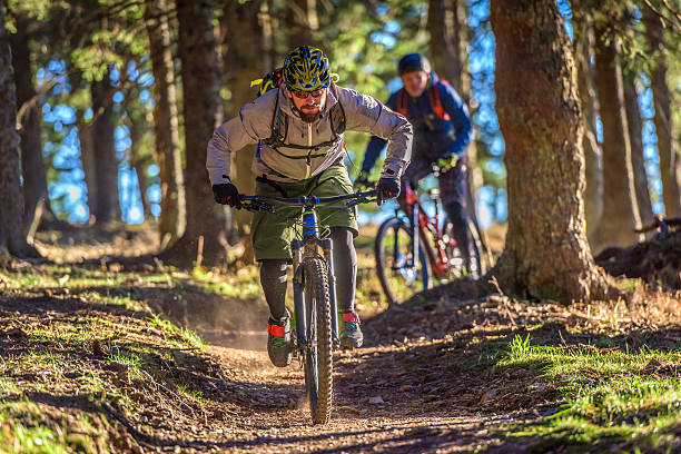 two mountain bikers on trail