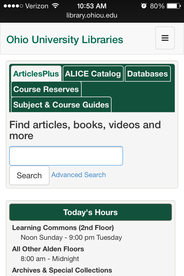 Mobile Responsive Websites for Libraries Example of Ohio University Libraries