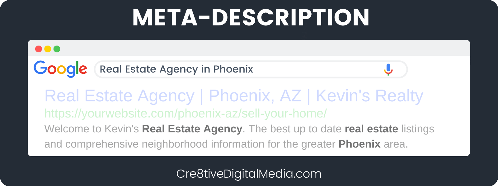 Meta-Description with Keywords + Location Bold