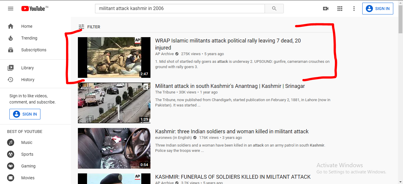 Millitant Attack in Kashmir YT Search Results