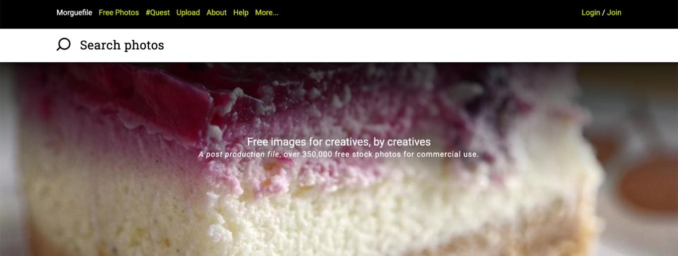 página de login do banco de imagens grátis Morguefile