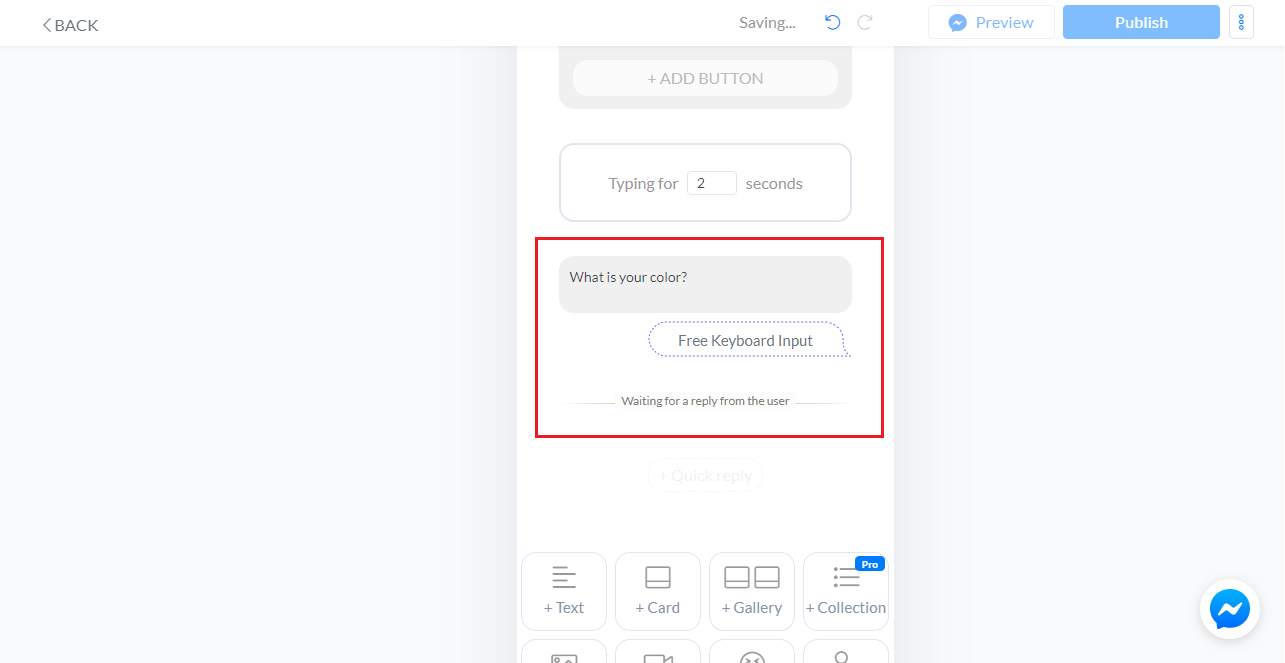 User Input on Chat flow