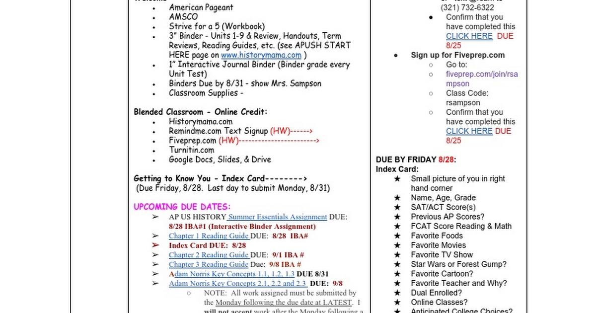 Calendar APUSH 824 916 Google Docs – Apush Worksheet Answers
