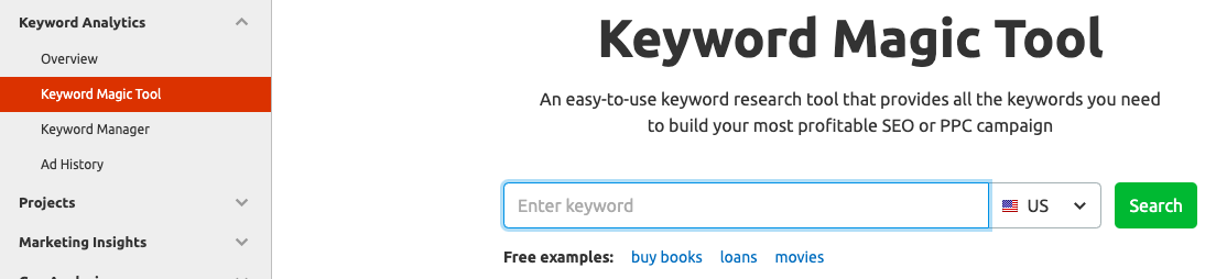 Keyword Magic tool semrush