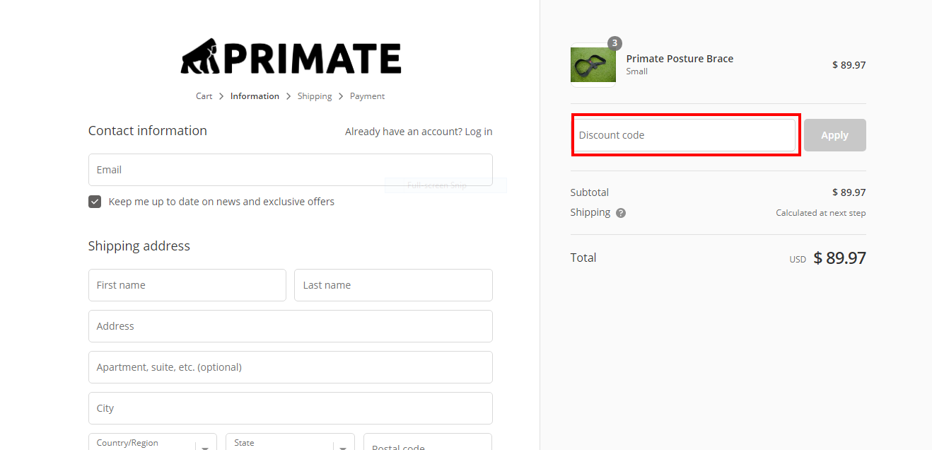 primate co official website check out page | Primate Co Coupon Codes
