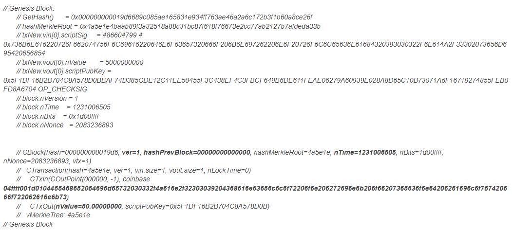 Comment explaining Genesis Block parameters in Bitcoin Blockchain code by Satoshi Nakamoto | blockchainblogging.com