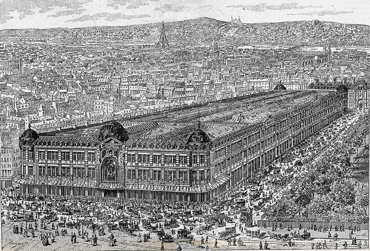 The Bon Marché, a huge department store covering multiple city blocks in Paris.