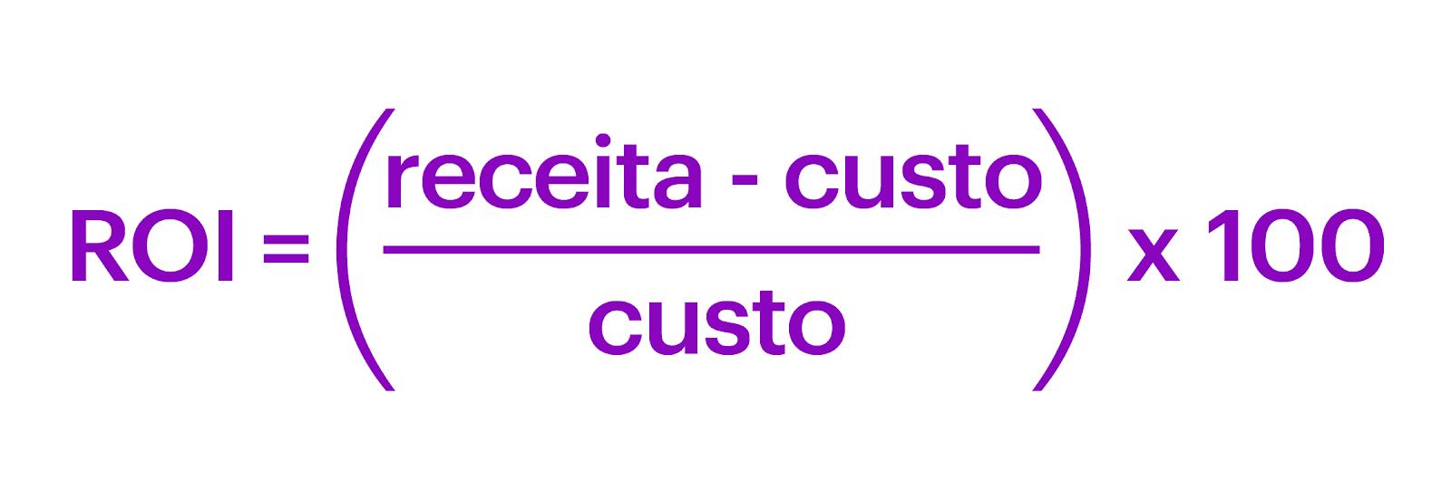 ROI: imagem com a fórmula ROI = (receita – custo) / custo X 100