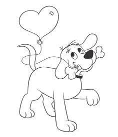Cheerful dog valentine coloring page