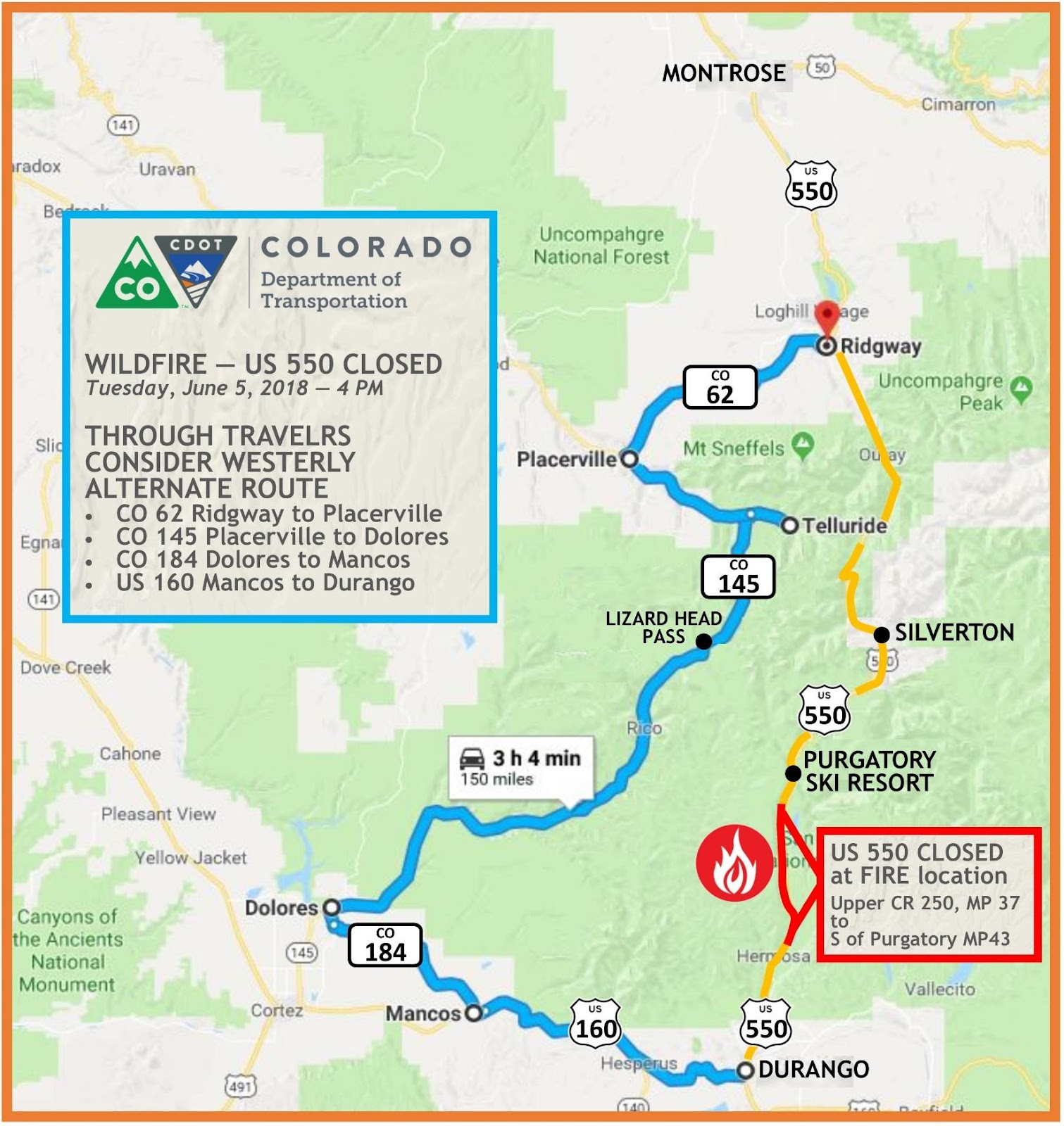 Us 550 416 Fire Update Us 550 Southern Closure Point Moves North