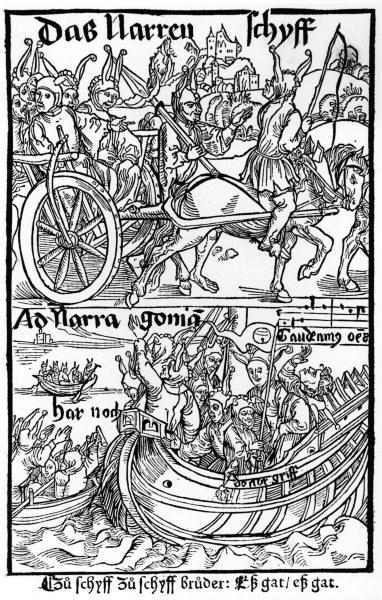 1-B125-P3-1494-1 Brant, Narrenschiff / Holzschn.v.Duerer Brant, Sebastian Dichter und Humanist um 1457/58 - 1521. Werke: Das Narrenschiff. - Titelblatt. - Holzschnitt, Albrecht Duerer (1471-1528) zugeschrieben. Gedruckt bei Johann Bergmann von Olpe, Basel 1494. E: Brant, Ship of Fools / Woodcut / Duerer Brant, Sebastian poet and scholar c.1457/58 - 1521. Works: Das Narrenschiff (Ship of Fools). - Title page. - Woodcut, Albrecht Duerer (1471-1528) attributed. Printed by Johann Bergmann von Olpe, Basel 1494. F: Brant, Sebastien , humaniste et poete sa Brant, Sebastien , humaniste et poete satirique alsacien , v. 1457/58-1521. Oeuvre : La Nef des fous. - Page de titre. - Gravure sur bois, Albrecht Duerer (1471- 1528) attribuee. Imp. par Johann Bergmann d'Olpe, Bale 1494.