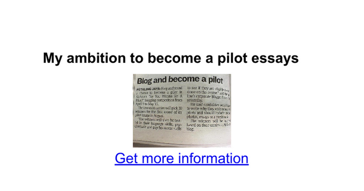 my ambition to become a pilot essays google docs