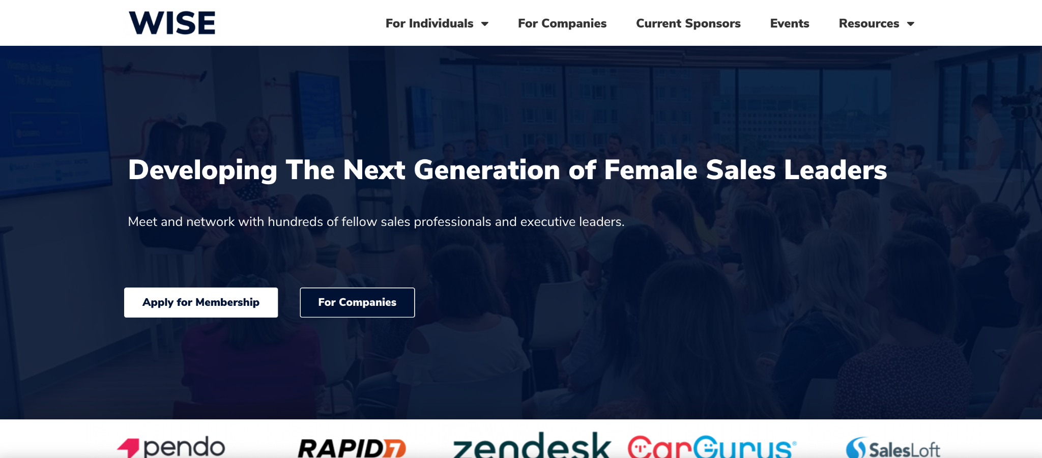 A screenshot of Women in Sales Everywhere's website landing page.