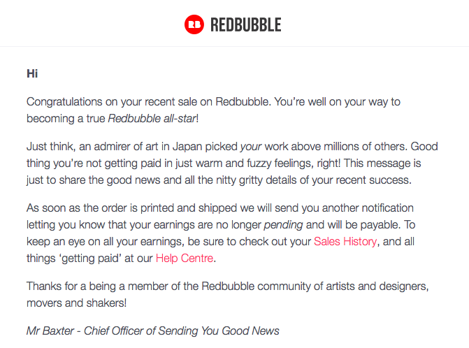 Personalized emails from RedBubble