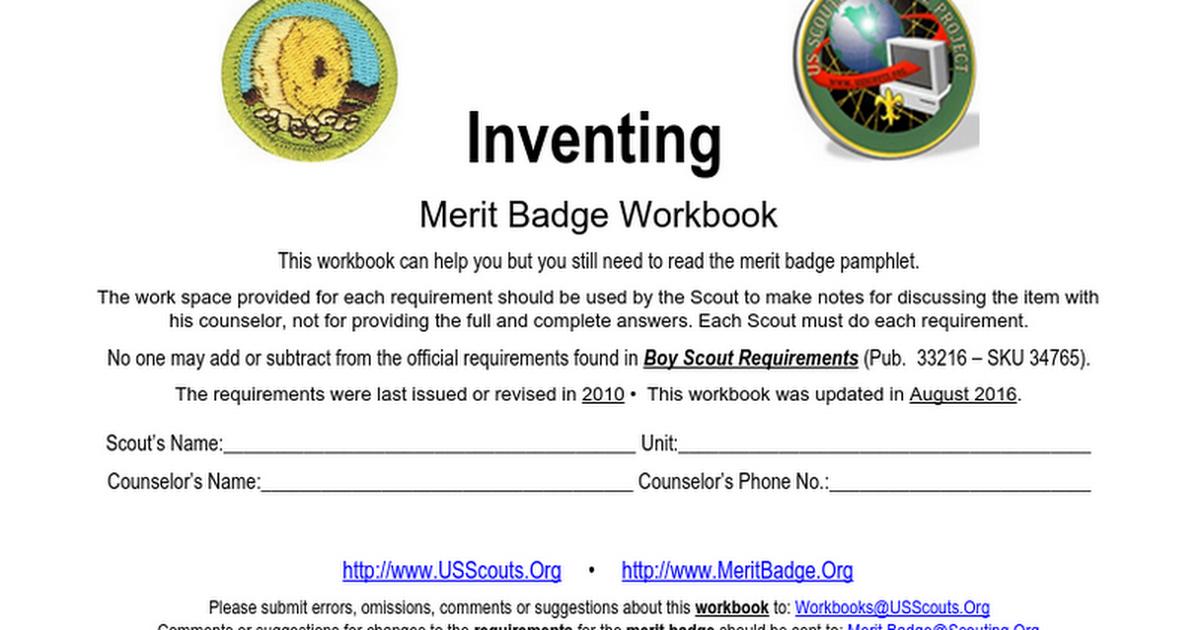 Inventing Merit Badge Mosi 2016 2017 Google Docs