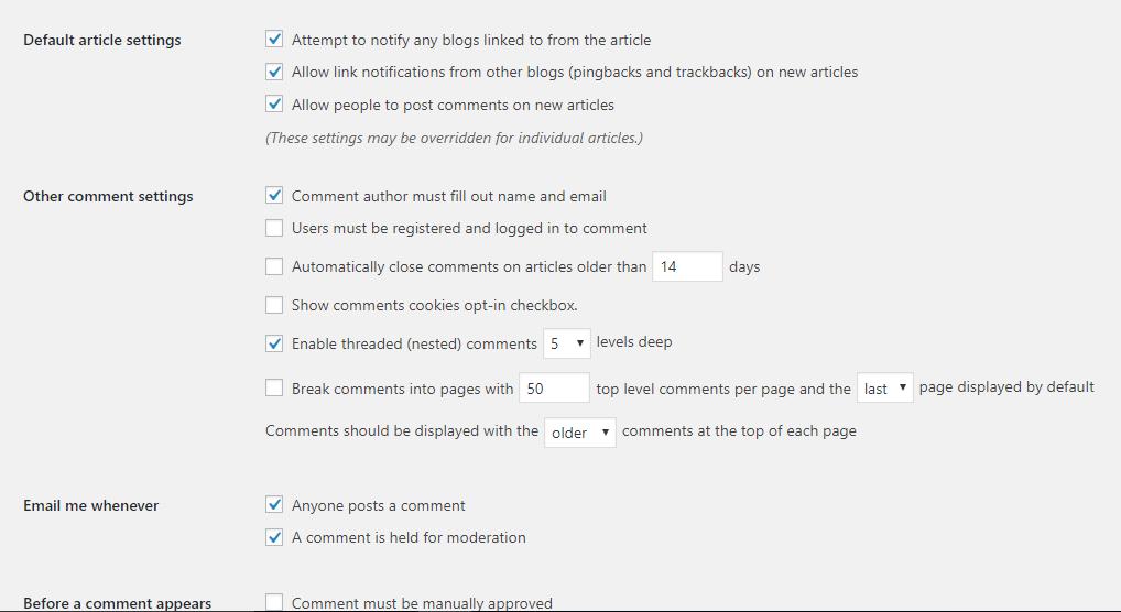 WordPress remove comments
