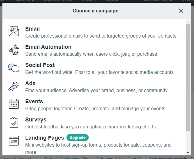 Constant Contact campaign creation process: Get started