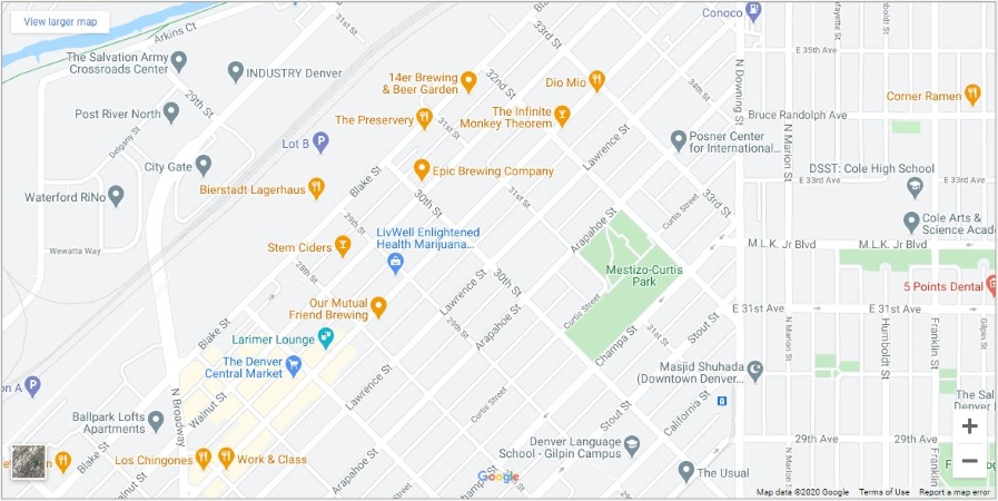 map of River North Art District in Denver, CO