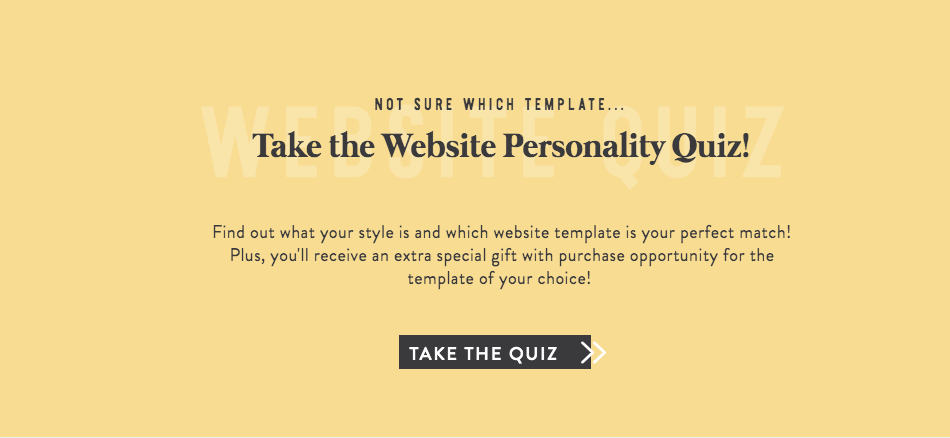 Website personality quiz on home page