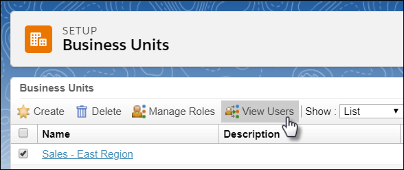 The Setup interface for business units with a business unit selected and the mouse cursor clicking on View Users.