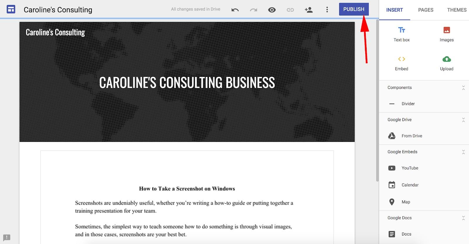 HubSpot Google Sites veröffentlichen