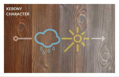 Durch Sonne und Regen entwickelt das Holz mit der Zeit eine natürliche silbergraue Patina.