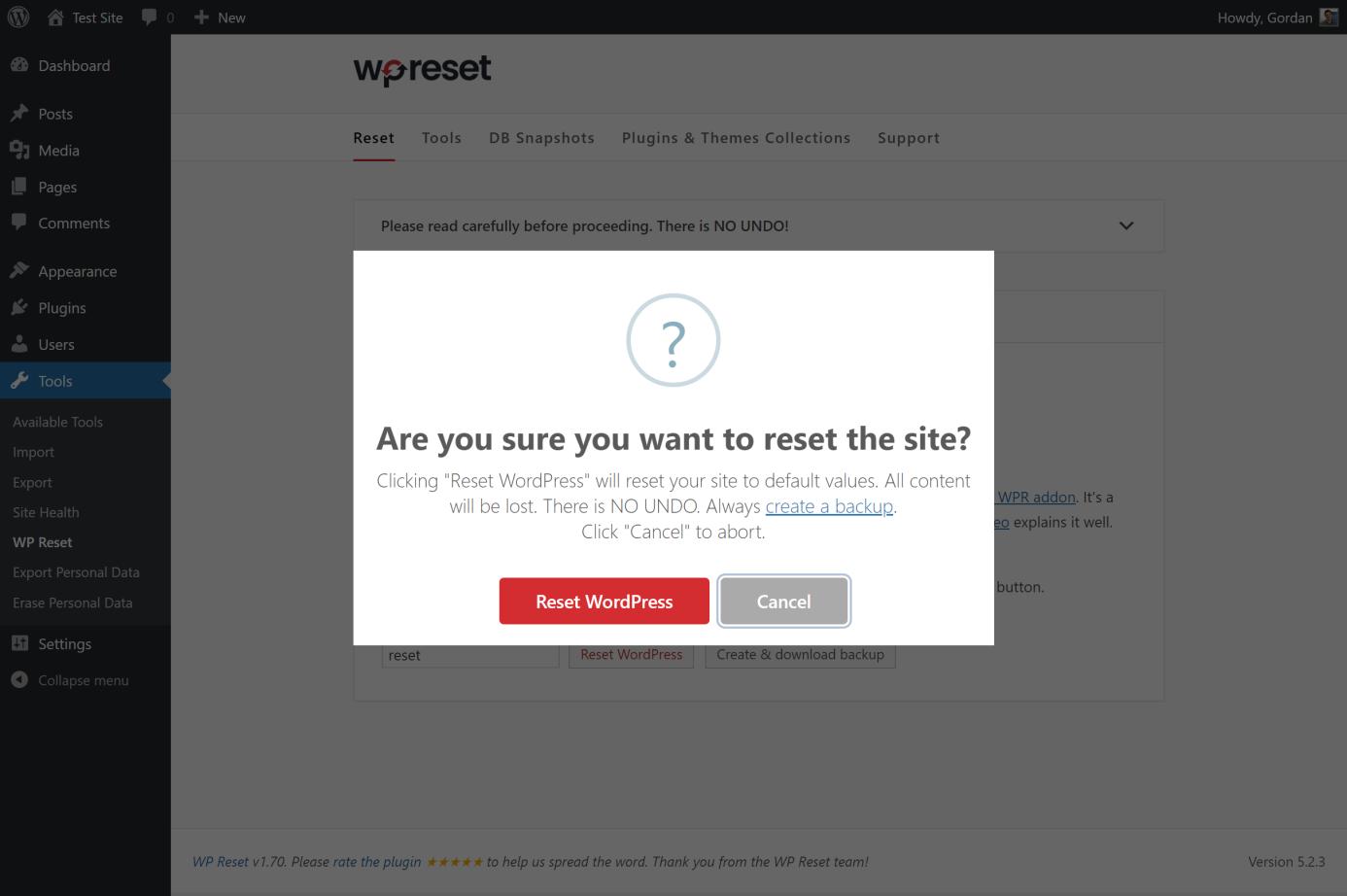 reseting website with wpreset 2