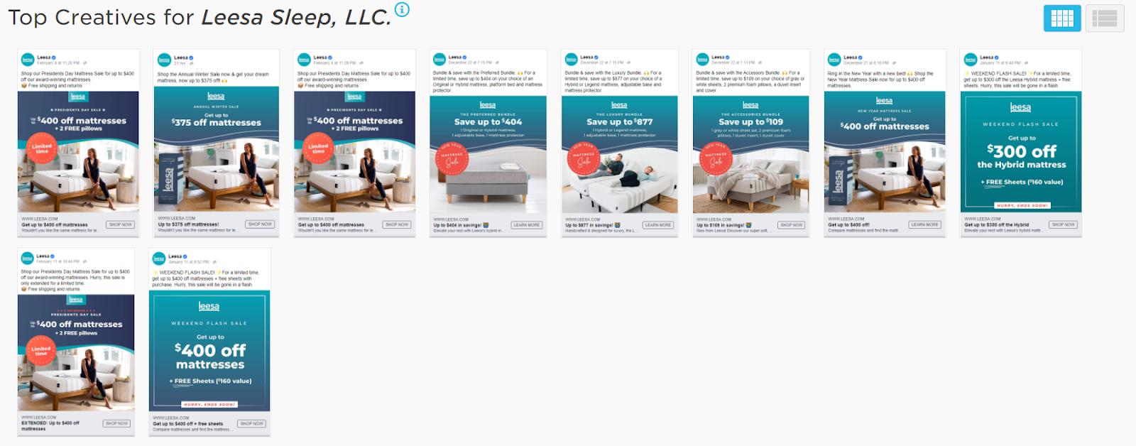 Leesa Sleep digital ads from Pathmatics Explorer