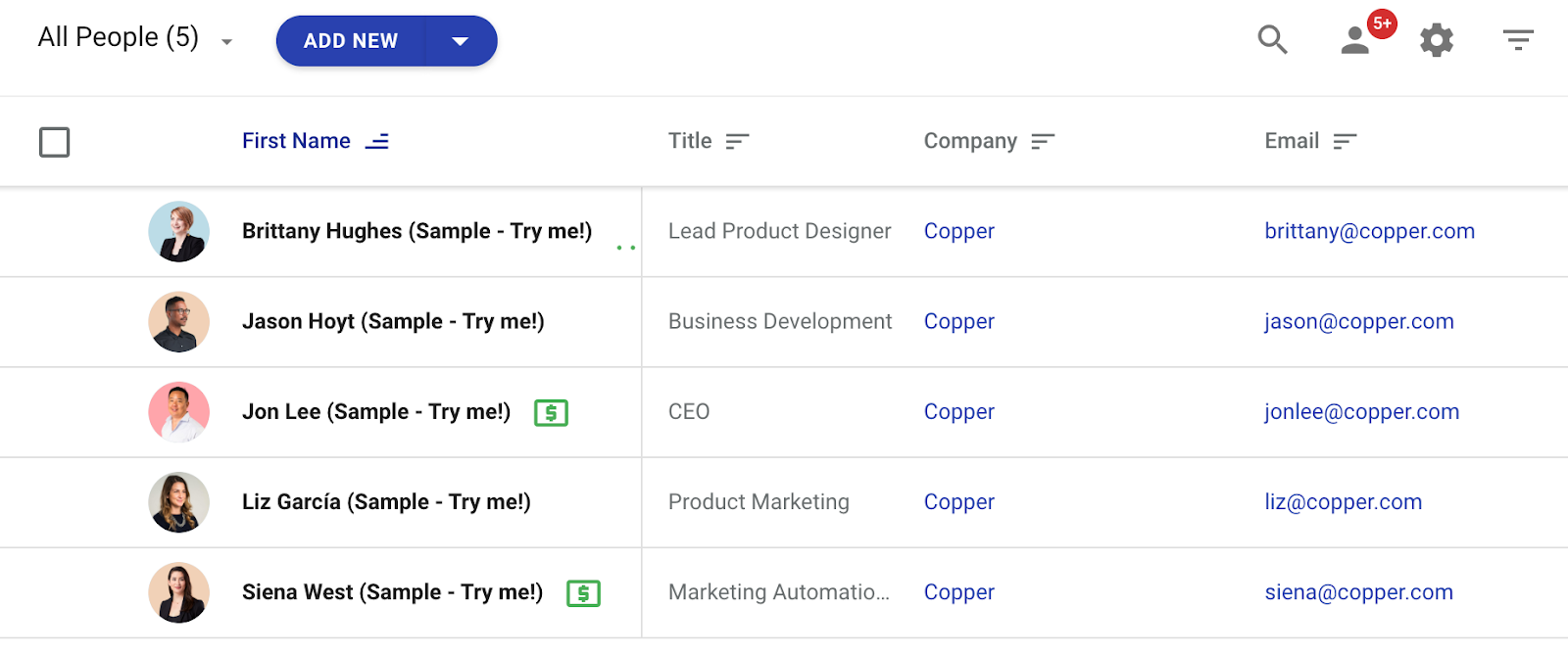 copper crm's contact management view