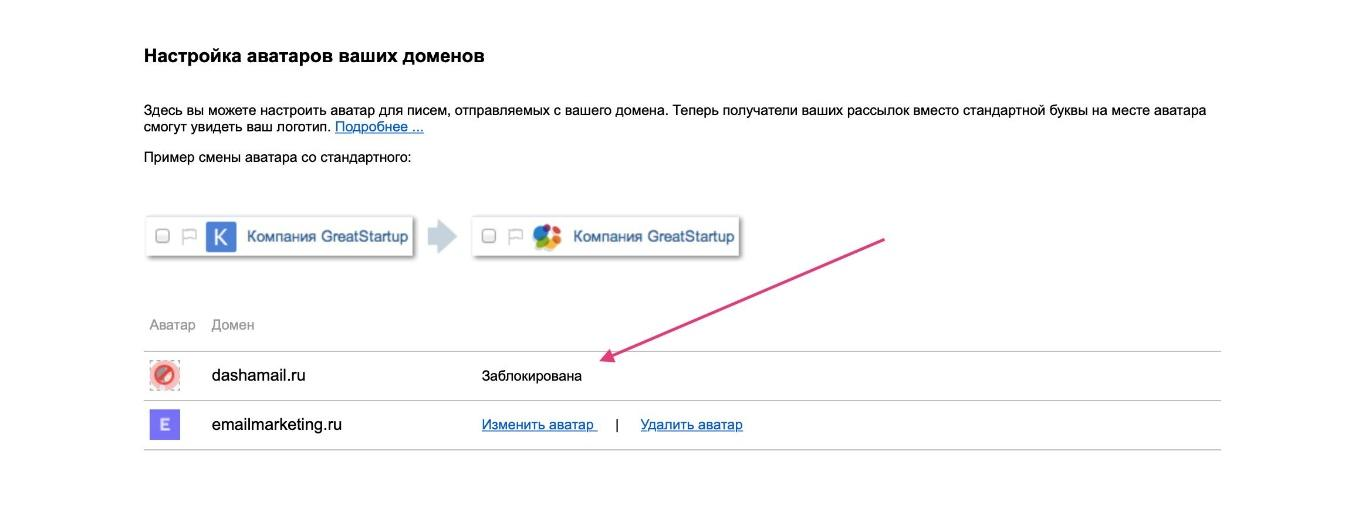 Настройка аватаров для домена