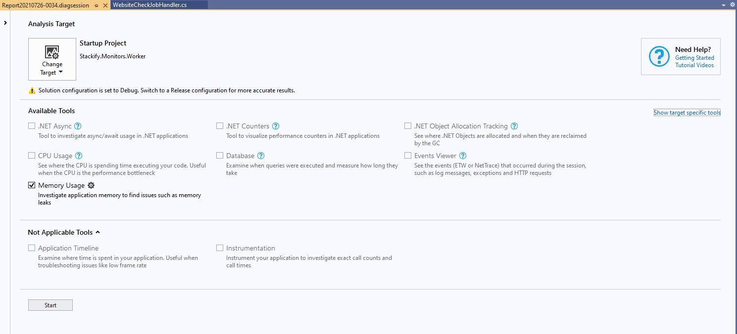 Visual studio performance profiler memory usage