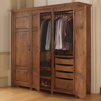 Solid wood wardrobe with sliding shoe tray and drawers