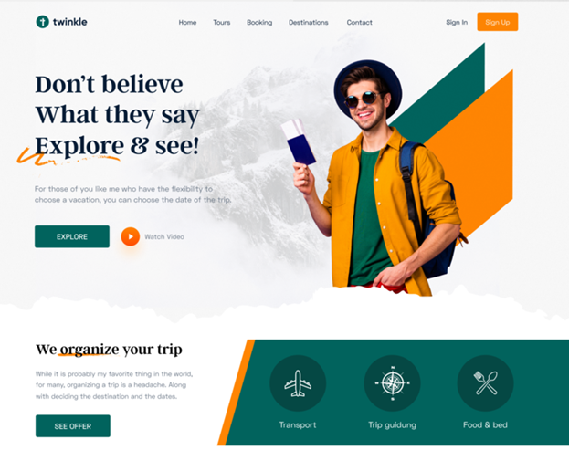 Color co-ordinated landing page