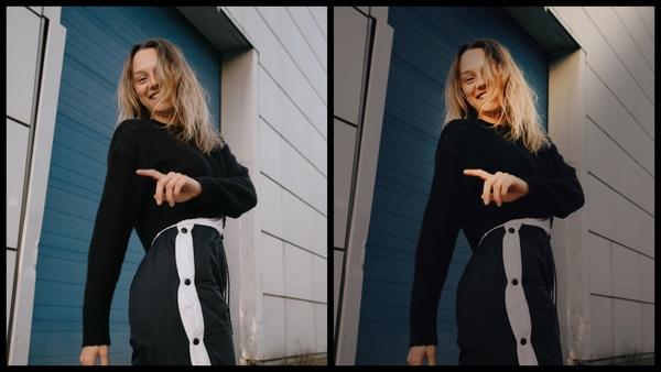 antes e depois da foto de uma mulher branca sendo que em uma foto está com o filtro Mysterious do AirBrush