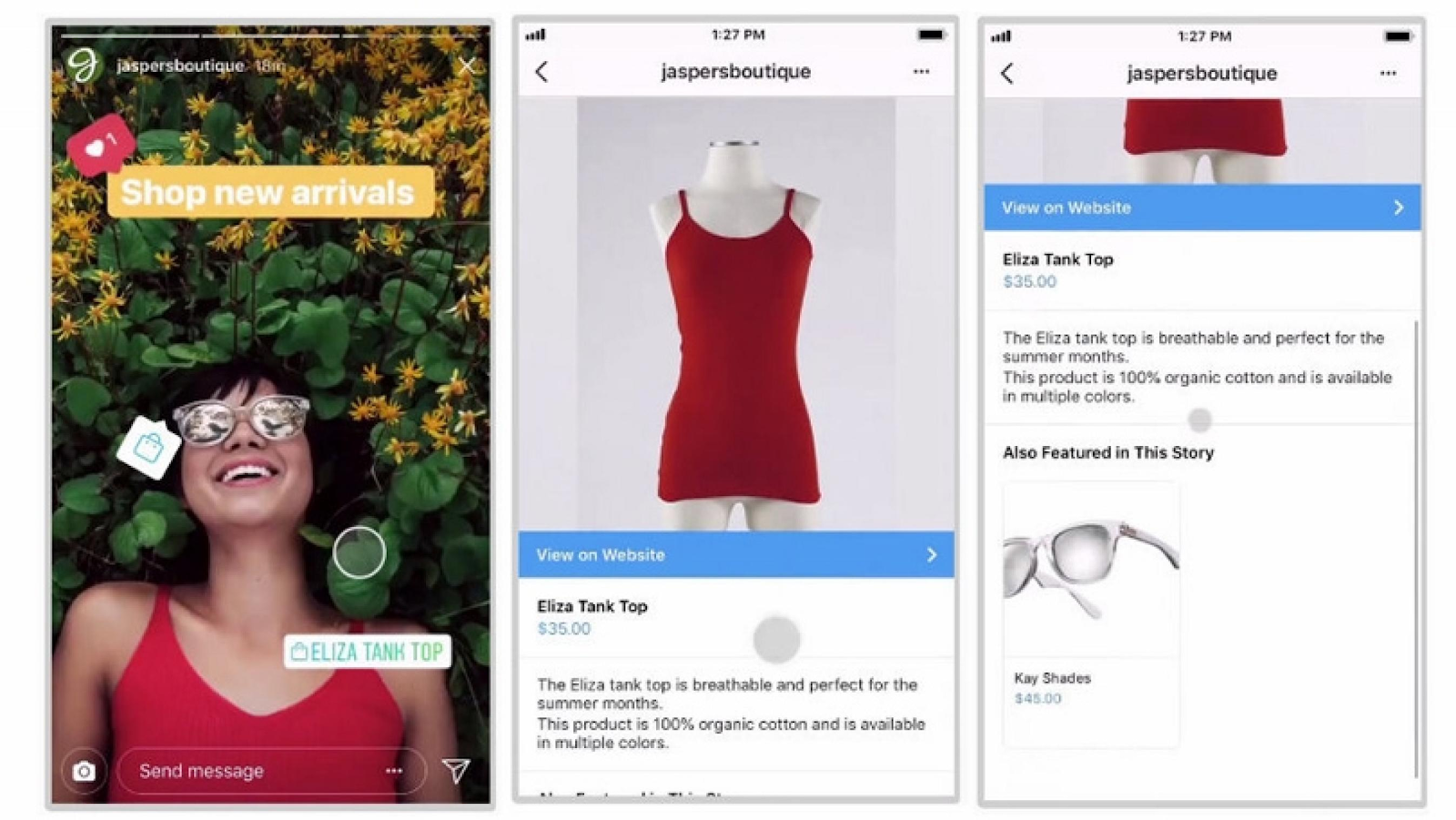 Example of Instagram's Shoppable feature