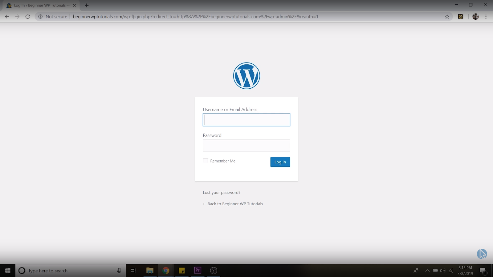 WordPress dashboard login page
